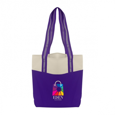 Color Accent Shopper Tote Bag