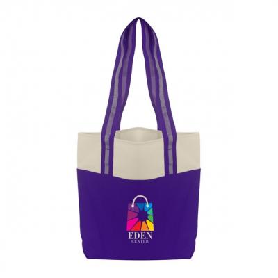 Color Accent Shopper Tote Bag
