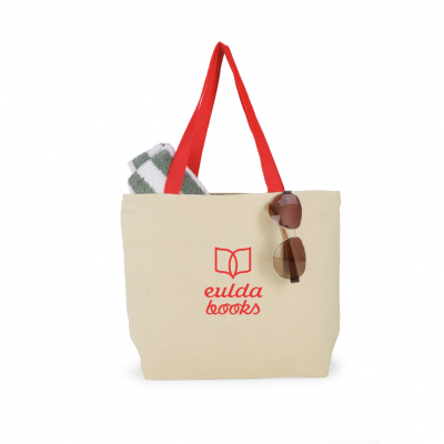 Colored Handle Tote Natural-Red