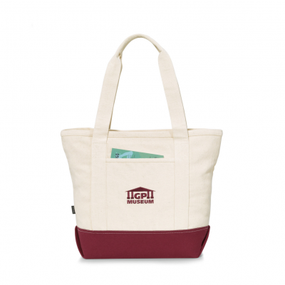 Newport Cotton Zippered Tote Red-Natural