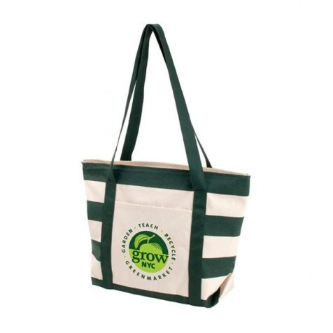 Striped Accent Boat Tote Bag