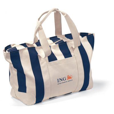 Large Striped Canvas Tote Blue-Natural