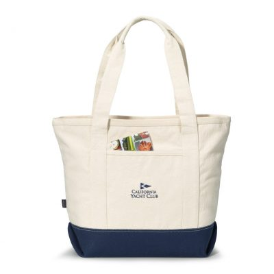 Newport Cotton Zippered Tote Blue-Natural