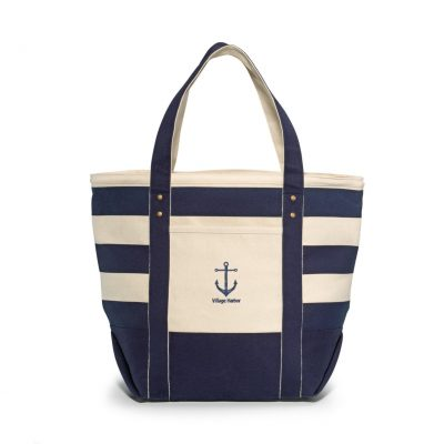Seaside Zippered Cotton Tote Blue