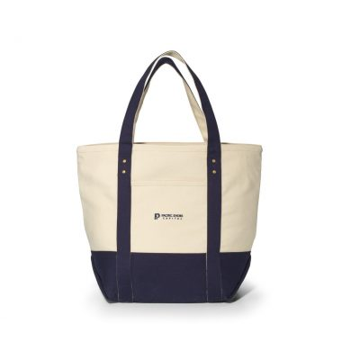 Seaside Zippered Cotton Tote Blue-Natural