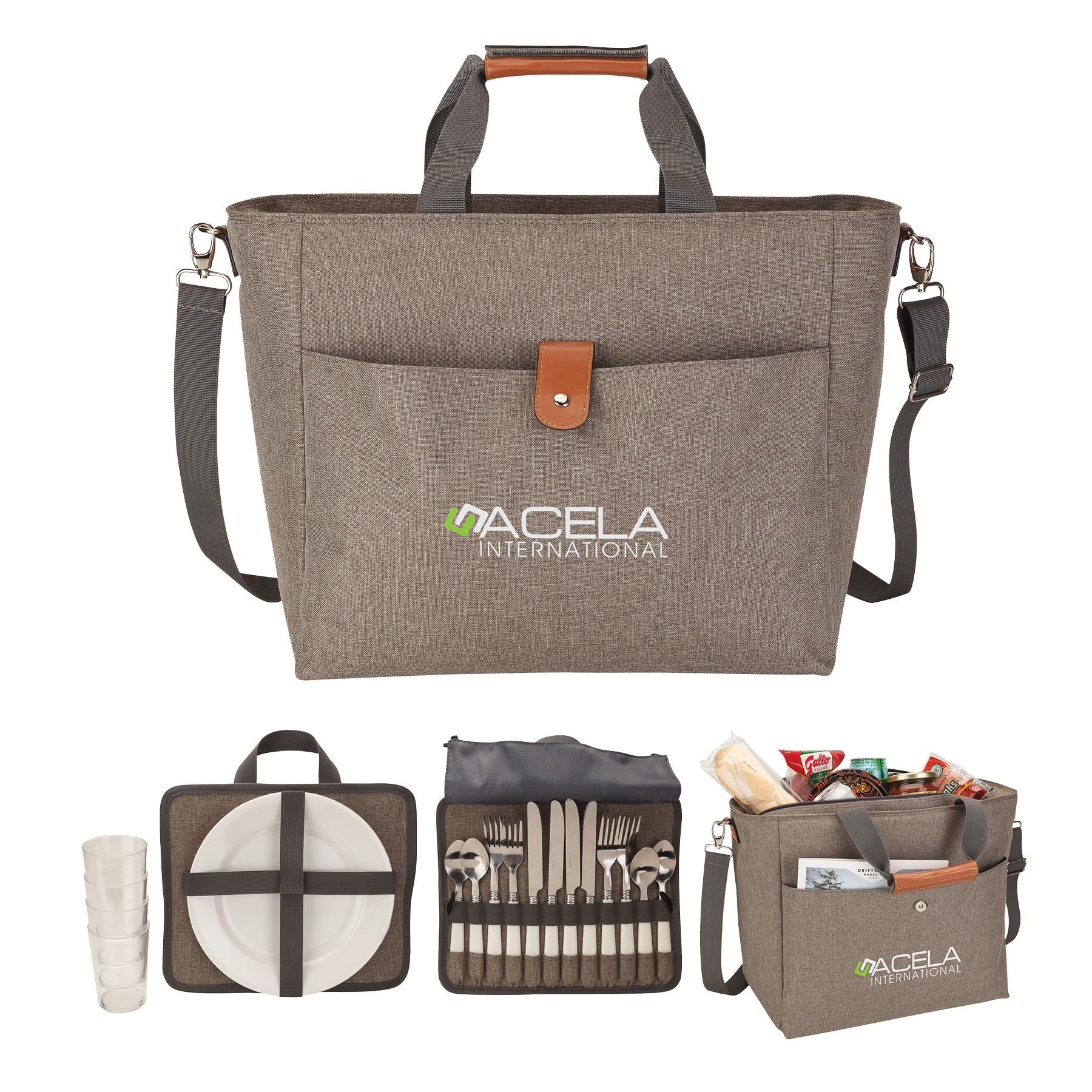 Del Mar 4 Person Picnic Carry Set & Cooler Tote Bag
