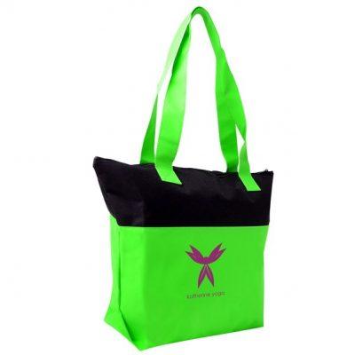2-Tone Accent Zipper Tote Bag