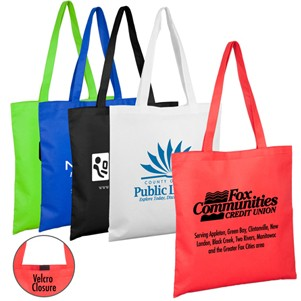 """15""""W x 16""""H -""""Catalina"""" Day Tote & Shopping Bag with Hook and loop Fastener Closure"""