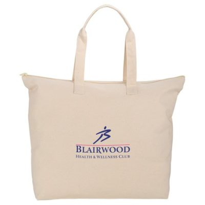 Basic 8oz Cotton Canvas Zippered Tote