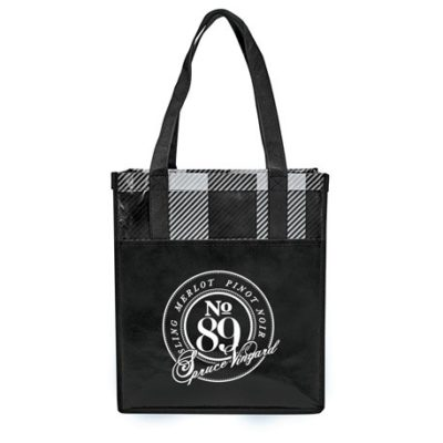 Buffalo Plaid Laminated Grocery Tote
