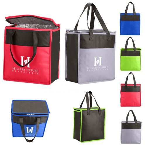 Two-Tone Flat Top Insulated Non-Woven Grocery Tote Bag