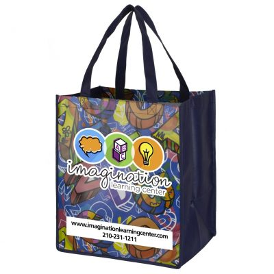 """Once-a-Week"" Full Color Glossy Lamination Grocery Shopping Tote Bags (Overseas)"