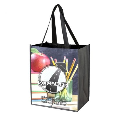 """""""Outlet"""" Full Color Glossy Lamination Grocery Shopping Tote Bags (Overseas)"""