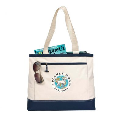 Utility Tote Natural-Blue-Navy