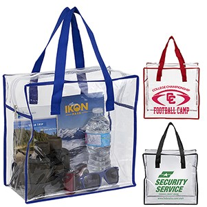 """ARETE"" 12"" W x 12"" H x 6"" Clear Vinyl Stadium Compliant Tote Bag (Stadium Compliant)"