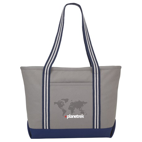 Atlantic Stripe 20oz Cotton Zippered Boat Tote