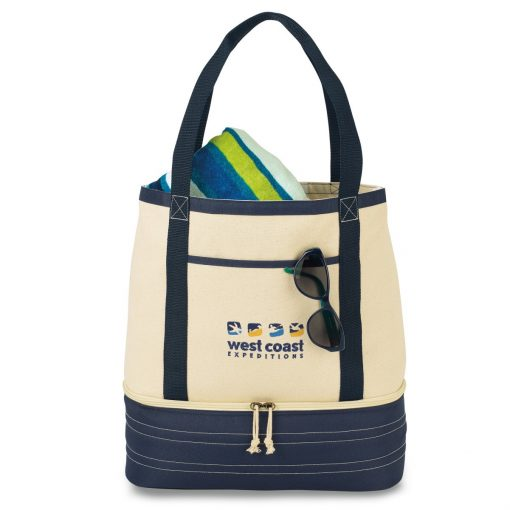 Coastal Cotton Insulated Tote - Navy Blue-Natural