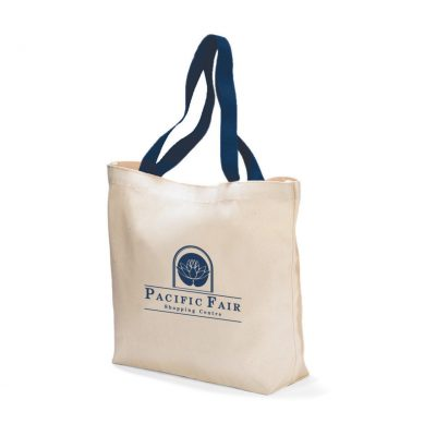 Colored Handle Tote - Navy Blue