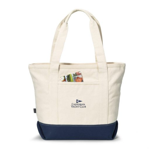 Newport Cotton Zippered Tote - Navy Blue