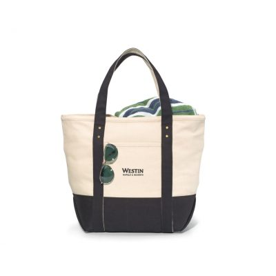 Seaside Zippered Cotton Tote - Black