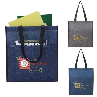 Good Value® Denim Print Non-Woven Tote Bag