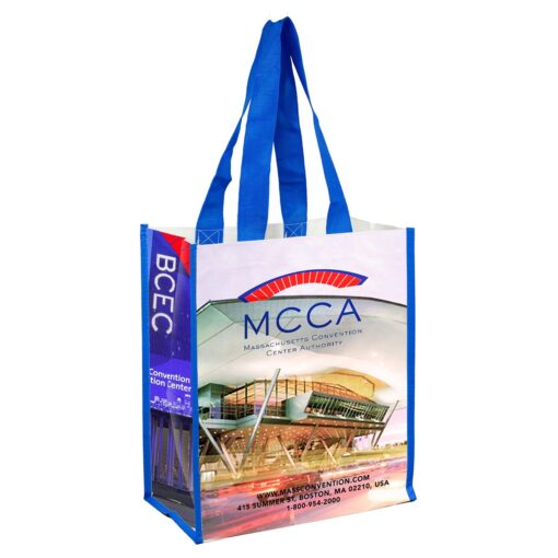 """12"""" W x 14"""" H - """"Nicole"""" Full Color Laminated Woven Wrap Tote and Shopping Bag (Overseas)"""